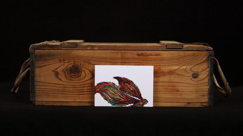 Rainbow Bird print illustration full view