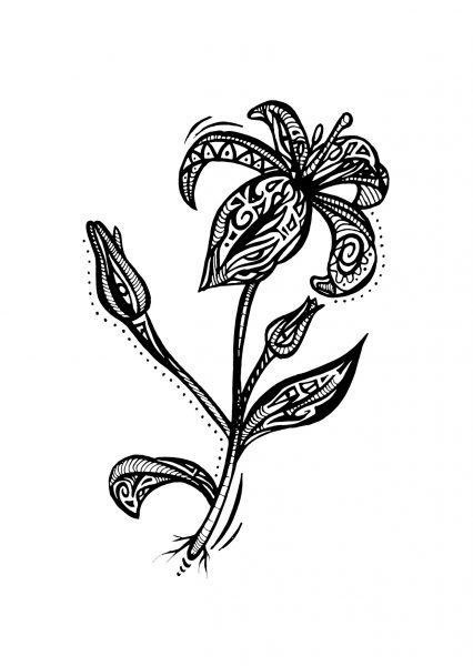 Lily Ornaments illustrative flower tattoo design