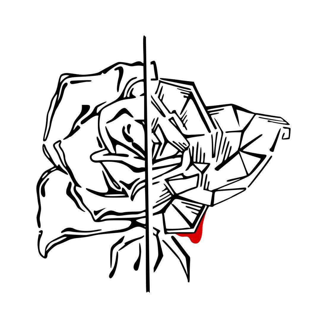 """Tattoovorlage Zwillinge """"Twin Rose"""" Illustration schwarz weiß"""