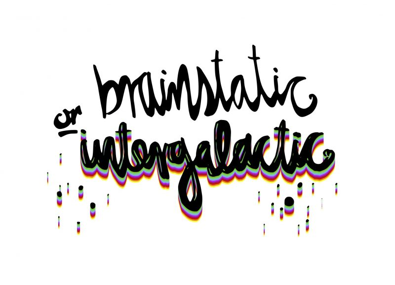 Brainstatic Or Intergalactic handwriting illustration