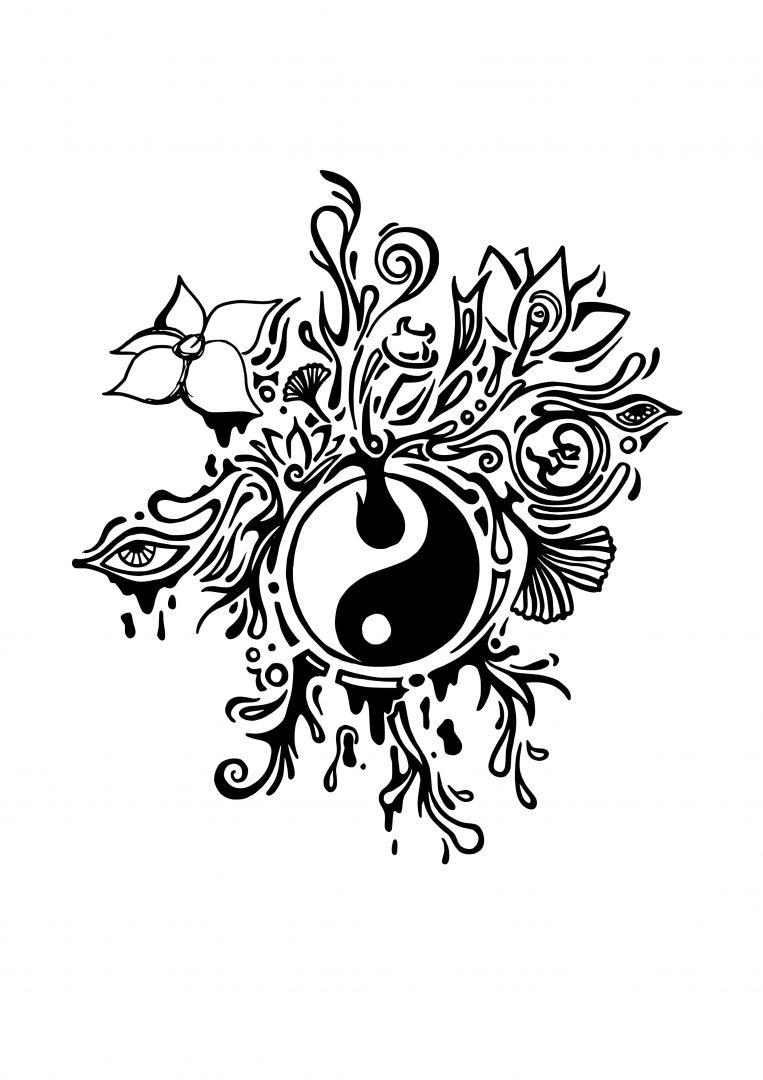 Tattoo Cover Up und Erweiterung Yin Yang Ornament Abstrakt