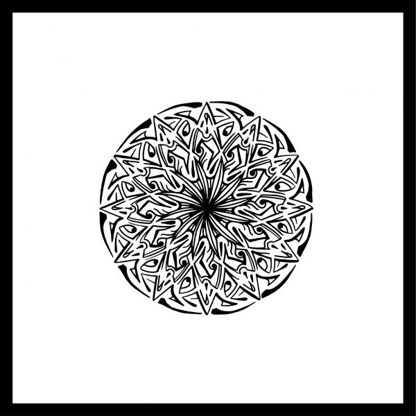 Mandala Mitte Illustration Hans From Space, schwarz weiß