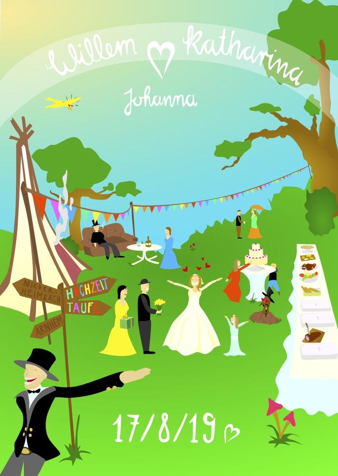 Hochzeit Einladungskarte DeBeijer - Frontillustration mit Gartenfest-Szenerie