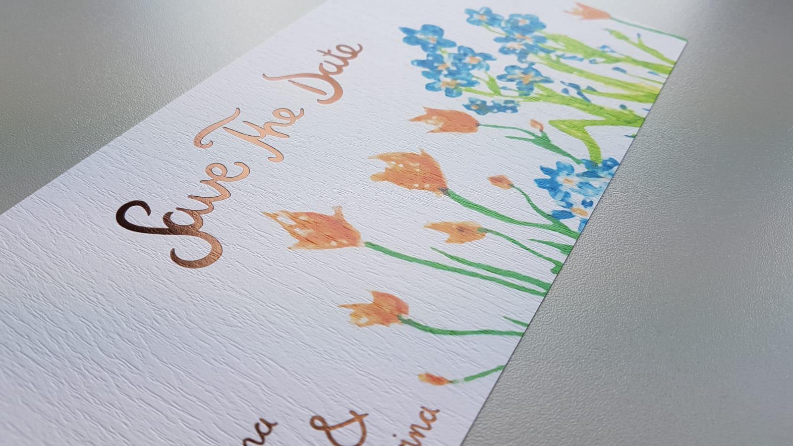 Grußkarte Close Up Hochzeitskarte Save The Date Design dynamisch