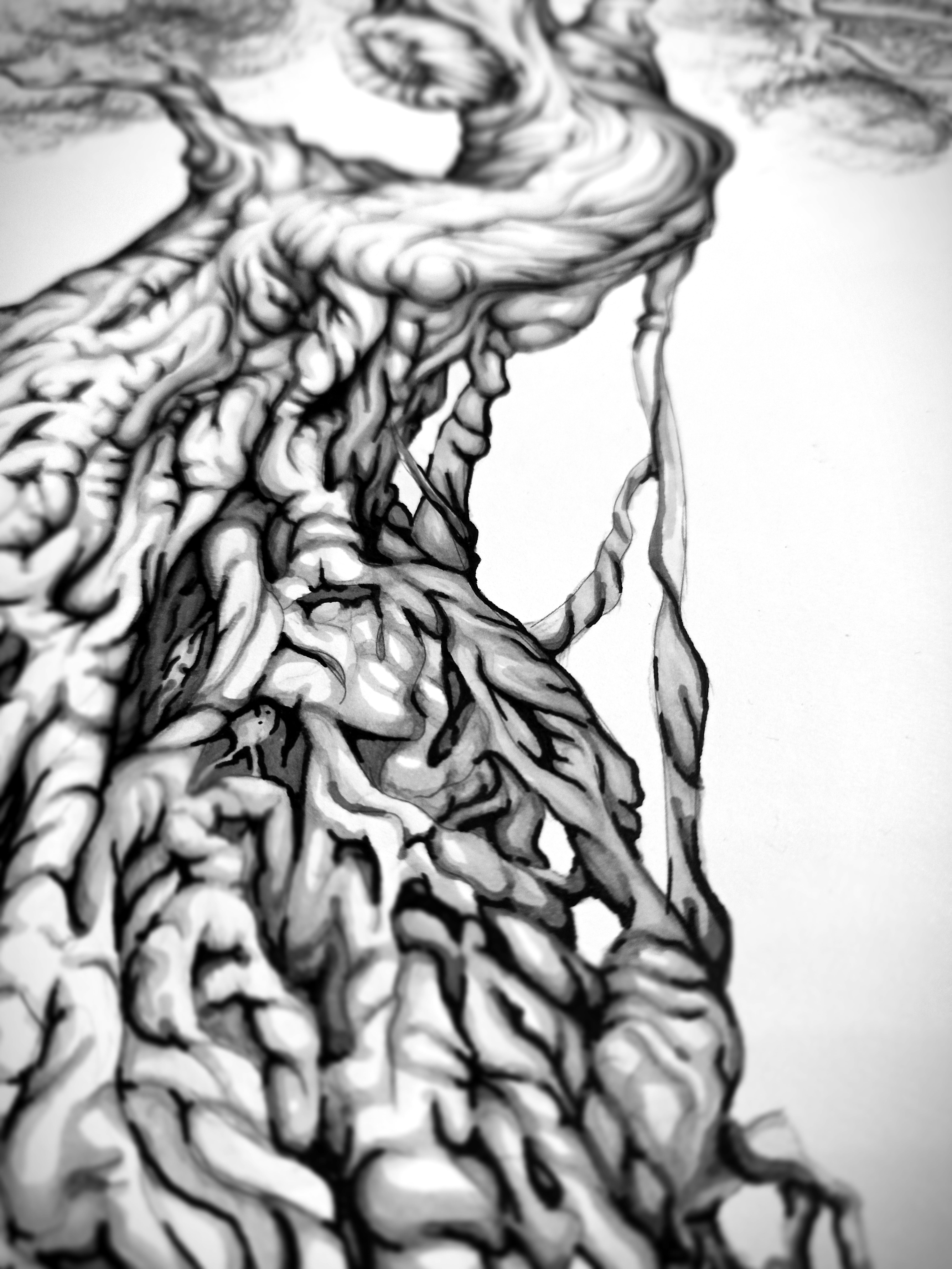 "Backpiece ""Tree & Human"" Rücken-Tattoo Sketch Teil Wurzeln Dyn Ver 2"