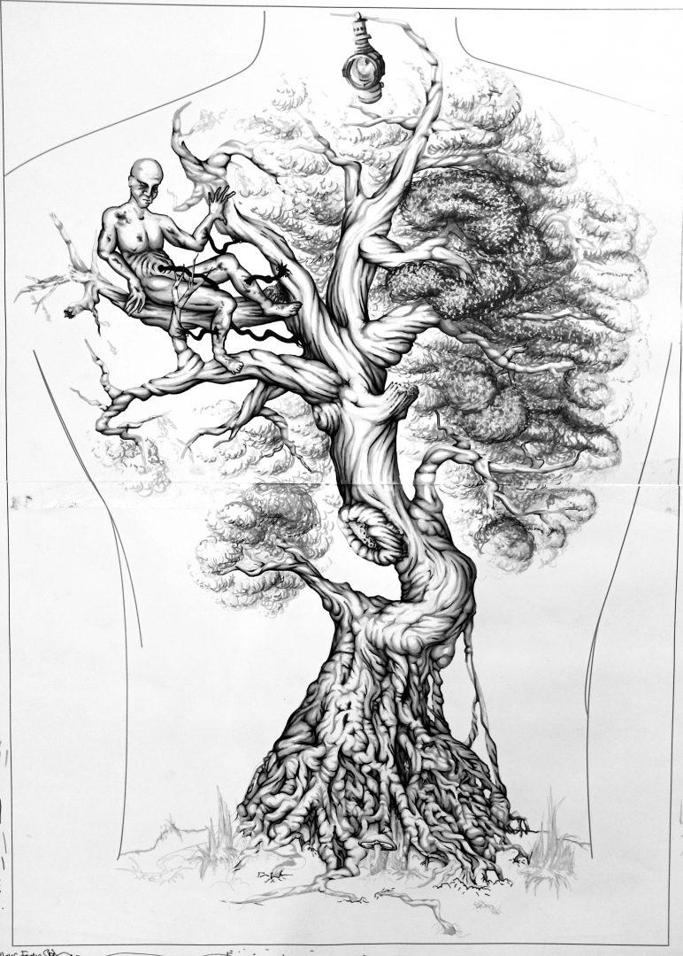 "Backpiece ""Tree & Human"" Rücken-Tattoo Sketch Teil Wurzeln Ganz/Full"