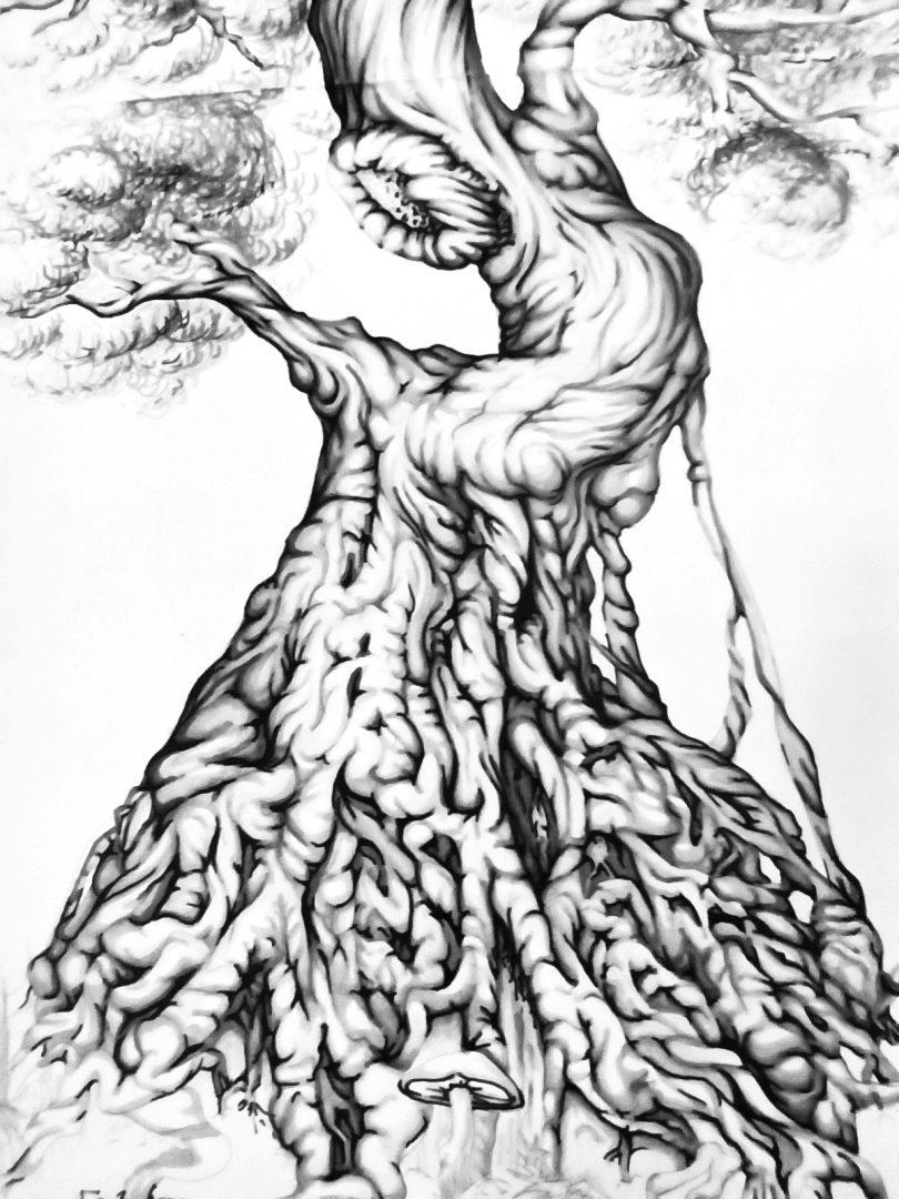 "Backpiece ""Tree & Human"" Rücken-Tattoo Sketch Teil Wurzeln"