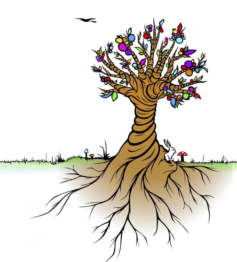 Lebensbaum mit Grasnarbe als Fußband, bunte Blätter, White Rabbit