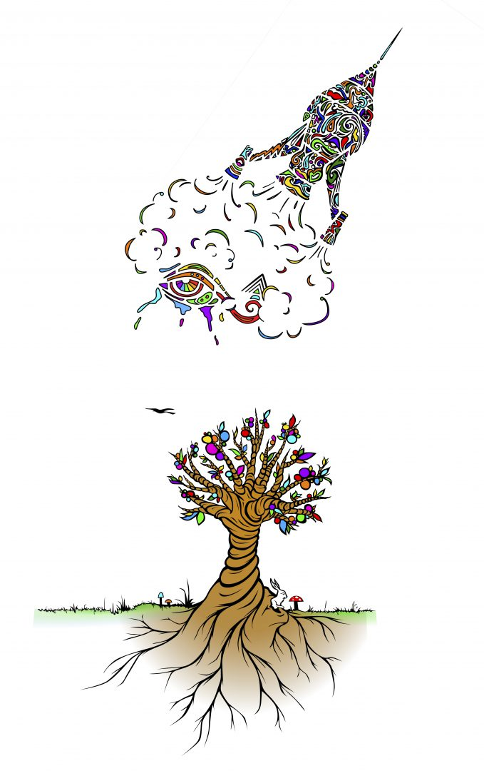 Fusion Rakete bunt mit Baum und Auge der Erkenntnis