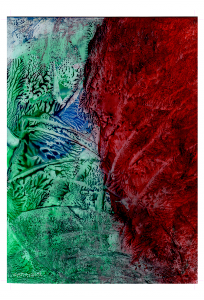 Red Green Abstract Art