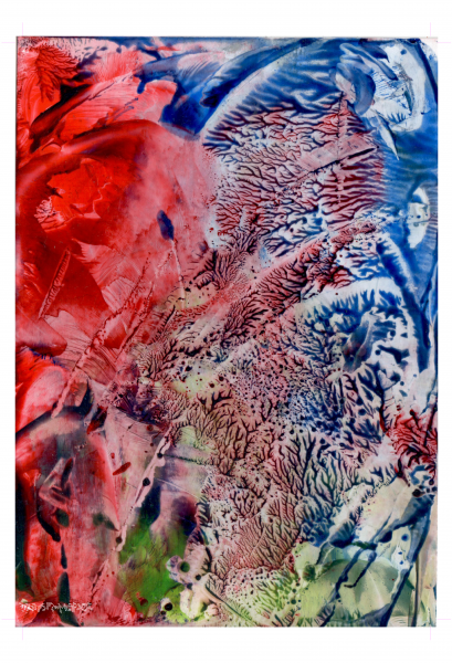 Red Blue Adern Abstract