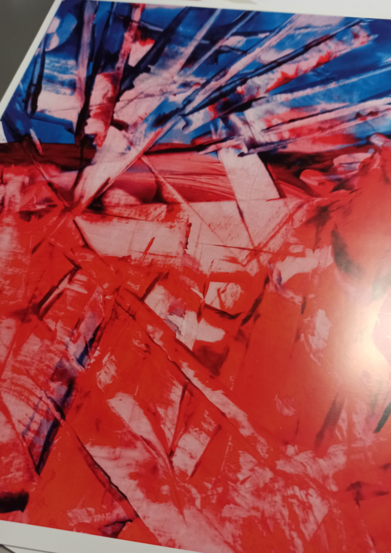 Red Blue Abstract 02 Poster