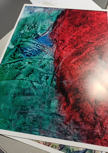 Red Green Abstract 02 Poster Art