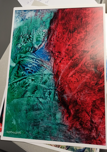Red Green Abstract 03 Poster Full View