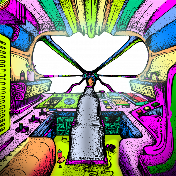 Spaceship Cockpit Illustration Multicolored by Hans From Space